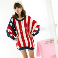 New Stylish Women's American Flag Stripe Batwing Knit Sweater Free Shipping!  - US$25.99