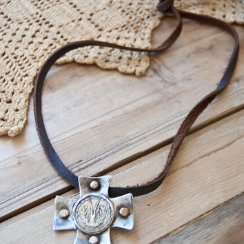 Love Tokens Short Leather Necklace with Coin Cross