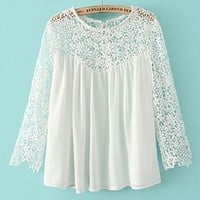 ABC New Summer Women Fashion Casual Lace Shirts Chiffon Blouses T-shirt Tops (M)