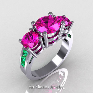 Modern 950 Platinum Gold Three Stone Pink Sapphire Emerald Bridal Ring R94-PLATEMPS