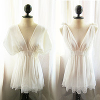 Romantic Angel White Chiffon Grecian Dress Tunic by RiverOfRomansk