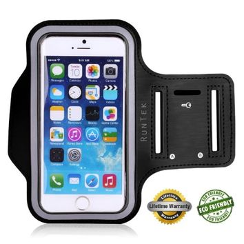 "Lifetime Warranty + FREE Screen Protector Eco-Friendly RunTek Sports Running Armband + Key Holder Anti Slip Sweat Resistant For Apple iPhone 6 (4.7""), Samsung Galaxy S5 S4 S3 iPhone 5/5s/5c iPod 5"