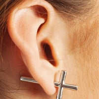 sideways-cross-earrings SILVER - GoJane.com