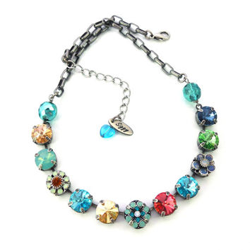 Carnival Collection, Swarovski crystal necklace, bright and colorful, designer inspired Statement Necklace