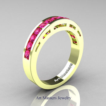 Modern 18K Green Gold Pink Sapphire Wedding Band R94B-18KGGPS