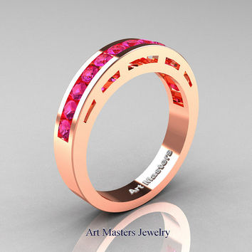 Modern 18K Rose Gold Pink Sapphire Wedding Band R94B-18KRGPS
