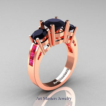 Modern 18K Rose Gold Three Stone Black Diamond Pink Sapphire Wedding Ring R94-18KRGPSBD