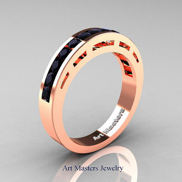 Modern 18K Rose Gold Black Diamond Wedding Band R94B-18KRGBD