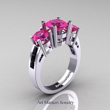 Modern 14K White Gold Three Stone Pink Sapphire Black Diamond Wedding Ring R94-14KWGBDPS