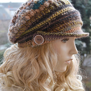 Brown Crocheted  PEAKED CAP beanie Slouchy Winter Fashion , very warm,women hat,Girls Hat,unique gifts