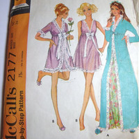 Vintage McCalls Pattern robe and nightgown size 16 from 1969 Step by Step pattern