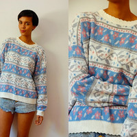 Vtg Floral Winter Print Blue Pink White Metallic Knitted Sweater