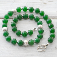 Necklace - Green Jade and Sterling Silver Necklace