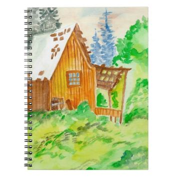 Cabin Watercolor Painting Notebook
