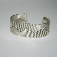Weaved Sterling Silver Bangle Cuff Bracelet 5.25 in -US free shipping