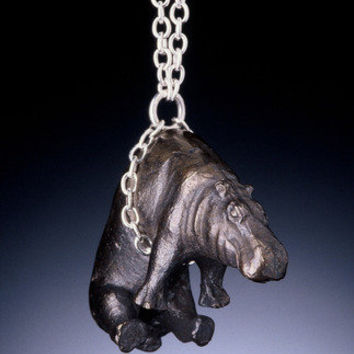 QueenofHearts - Bronze/Sterling Silver Hippo Necklace