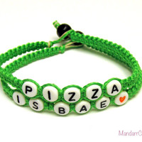 Pizza is Bae, Set of Two Bracelets, Neon Green Bamboo Cord Jewelry