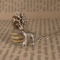 Snape's memories of lily vial on silver plated necklace - Harry Potter inspired