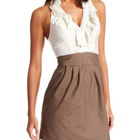 Ruffle-Neck 2-Tone Dress: Charlotte Russe