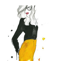 Watercolor Fashion Illustration  The Geek by JessicaIllustration