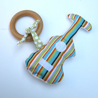 Organic  Wood TEETHING ring with Organic Cotton Clutch Toy Guitar- Eco Friendly All Natural baby toy
