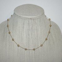 "Vintage Faux Gold Pearl Beaded Necklace 18"" FREE US SHIPPING"