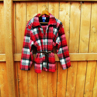 vintage oversized fleece plaid zip up shirt. size L to XL. made by Venezia Jeans. fall fashion