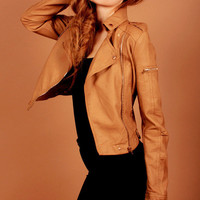 Tan Biker Jacket, leather-like jacket, rock chick, outwear