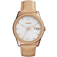 Fossil Perfect Boyfriend Three-Hand Date Leather Watch - Tan