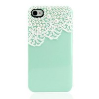 Amazon.com: Hand Made Lace and Pearl Green Hard Case Cover for iPhone 4 4G 4S: Cell Phones &amp; Accessories