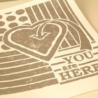 Lino Block Print  You Are Here  Silver by JoshuaByOak on Etsy
