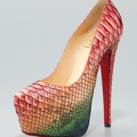 Daffodile Python Platform Red Sole Pump