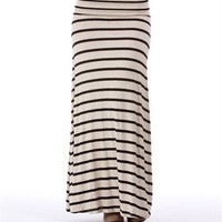 Ivory/Black Striped Maxi Skirt