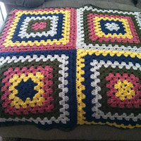 Colorful Large Granny Square Baby Blanket
