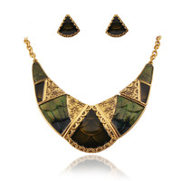 Vintage Oversized Necklace Triangle Earrings Brass Sets Antique Chain Necklaces