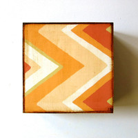 Chevron Zig Zag Arrow 5x5 art block on wood Peach Orange Yellow Pink Brown Geometric