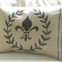 Burlap laurel wreath and fleur de lis pillow cover by samantha2818