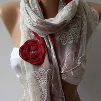 Georgeus Scarf Elegance Scarf Feminine Scarf....Cotton and Tulle fabric.....Bridesmaids Gifts