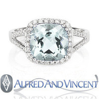 4.15ct Cushion Cut Blue Topaz Gemstone & Round Cut Diamond 14k White Gold Ring