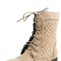 Promise Faith Camel Studded Side Combat Boots shop Boots at MakeMeChic.com