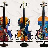 Custom Painted Violin Full Size Instruments Cellos Guitars