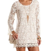 Long Sleeve Lace Shift Dress by Charlotte Russe - Natural