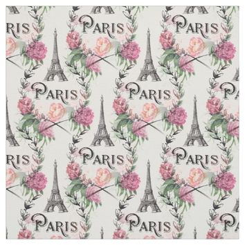 Paris Vintage Pink Roses Fabric