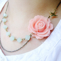 Pink Flower &amp; Mint Green Glass NecklaceEsmie FREE by RachelleD