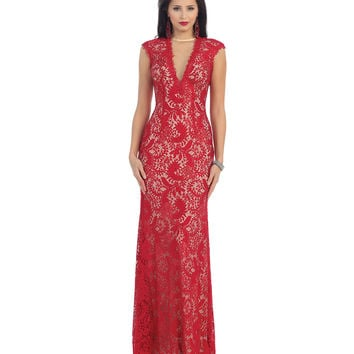 Red & Nude V-Neck Lace Dress 2015 Prom Dresses