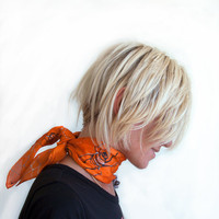 Hand painted silk scarf - Halloween decorated scarf with spiders in tangerine orange