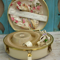 Vintage Hair Dryer  Tan GE Deluxe Electric Hair by honeystreasures