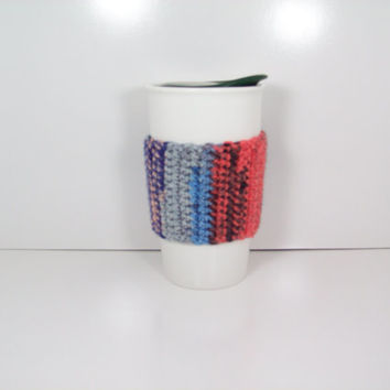 Blue and Coral, Crochet Coffee Cozie, Hand Crocheted, Handmade, Cup Cozy, Can Cozy, Beverage Cozy, travel mug sleeve, crochet cozie