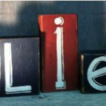 Believe sign Letters wooden stacking blocks primitive Set of 7 shelf sitter prim