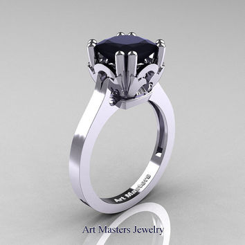 Classic 14K White Gold 2.0 Carat Princess Black Diamond Solitaire Wedding Ring R301E-14WGBD